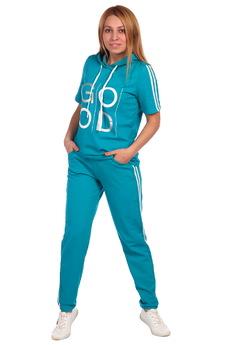 Изумрудный спортивный костюм с капюшоном ElenaTex
