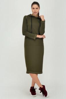 Трикотажное платье хаки с капюшоном Viserdi